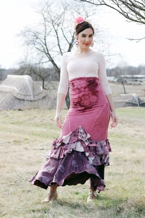 Rosa-brown elastic jersey flamenco skirt with two ruffles