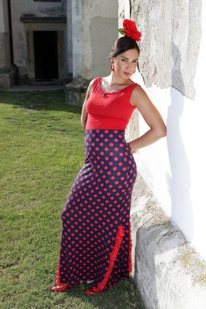 Flamenco skirt with polka dot print