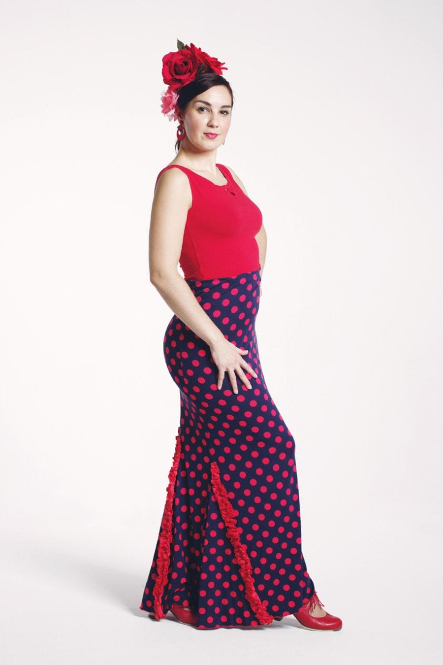Flamenco skirt with half princess-cut in dark blue-red polka dot print