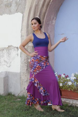 flamenco skirt in violet color and floral prints, designed with asymmetrical ruffles