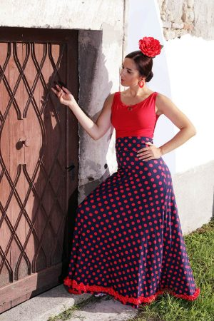 A-line flamenco skirt with polka dot print