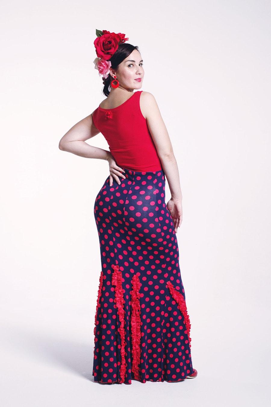 Flamenco skirt with polka dot print
