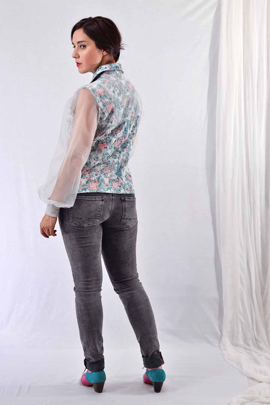 Spring jacket with pastel floral jacquard print and tulle sleeves from back