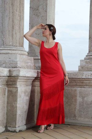 Satin gown in red with fringes