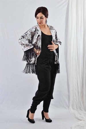 Velvet Kimono jacket with fringes in silver