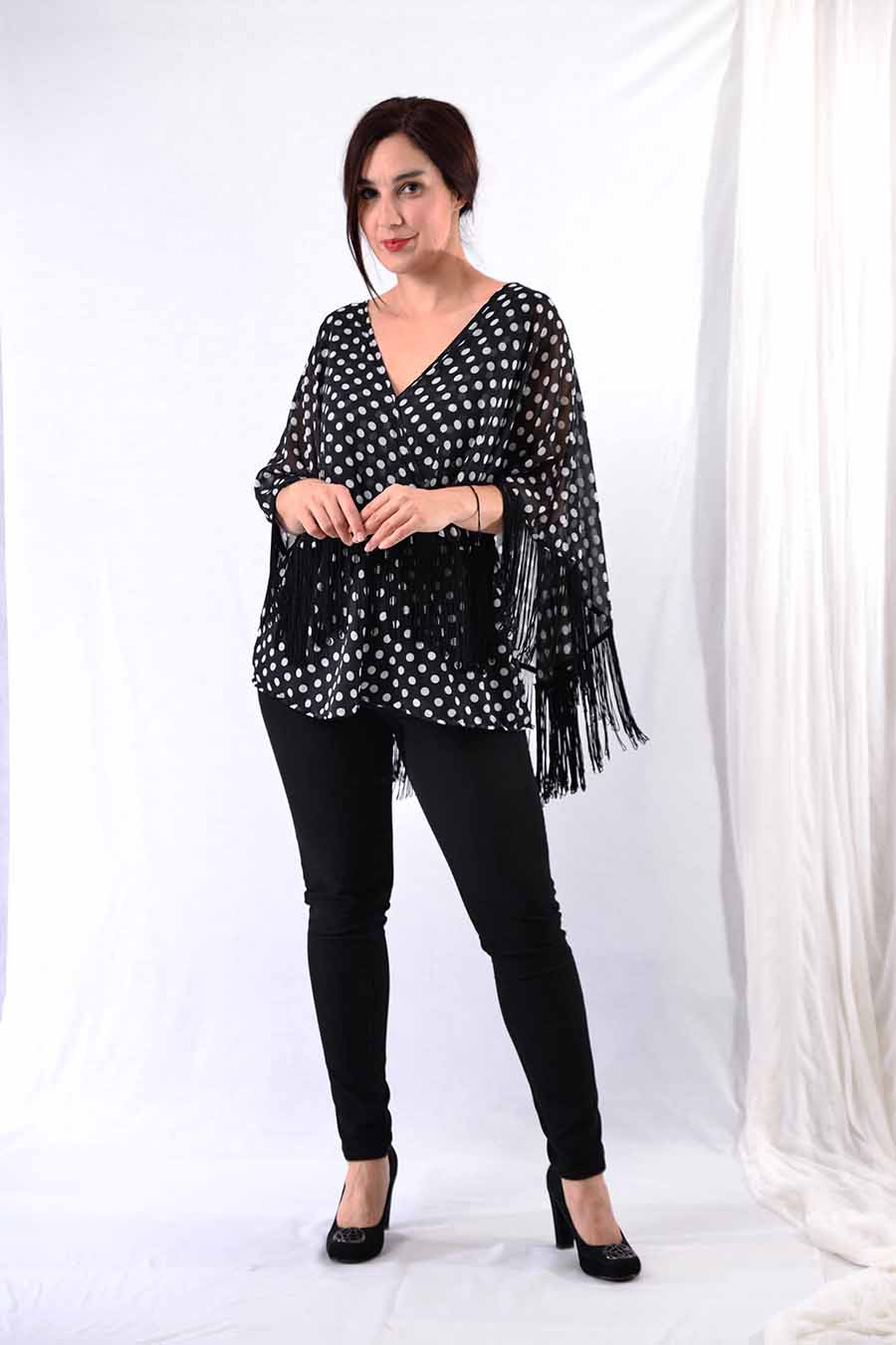 Tunic Blouse with fringes and polka dot print