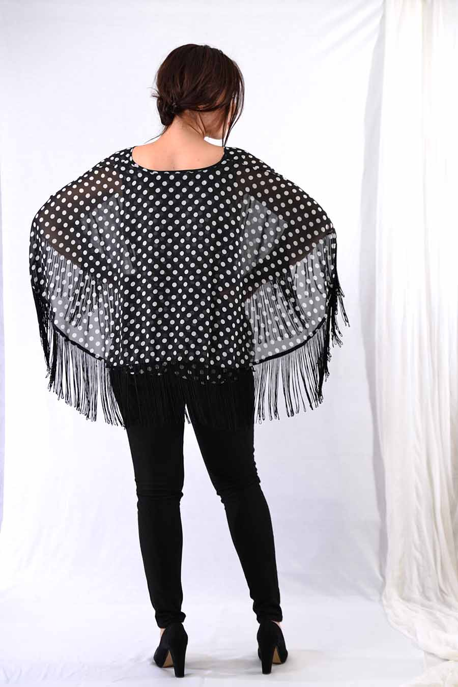 Tunic Blouse with fringes and polka dot print from back