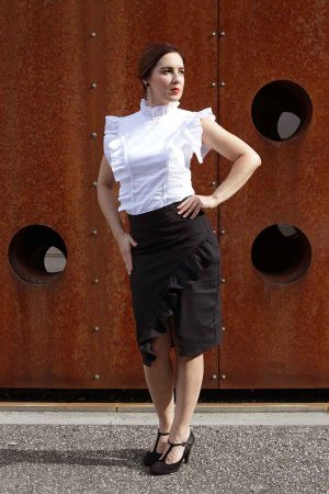 Black pencil skirt with ruffle details