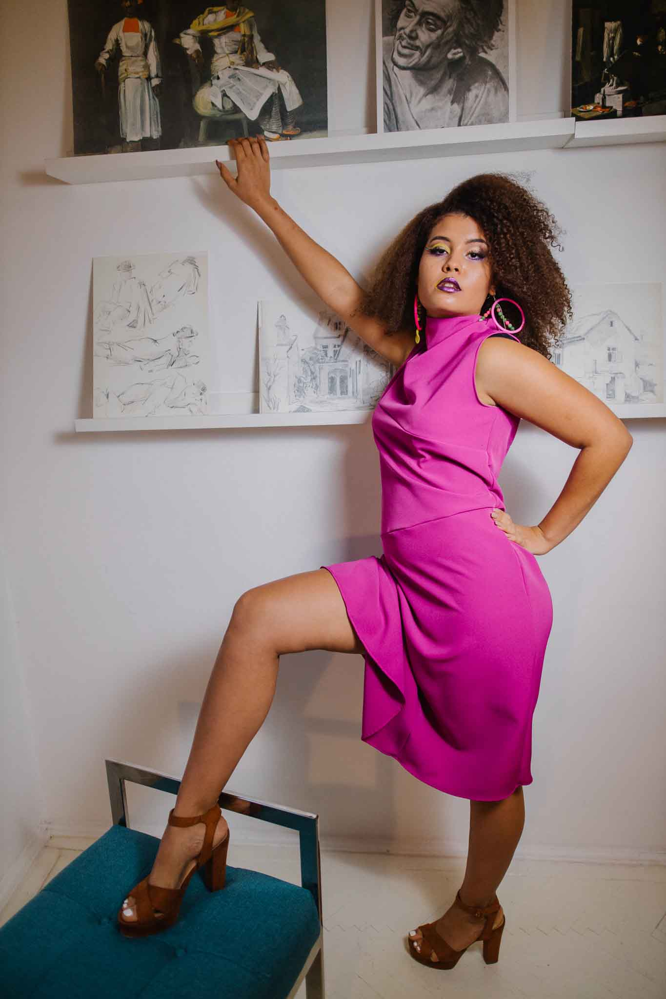 Asymmetric sleeveless dress in pink