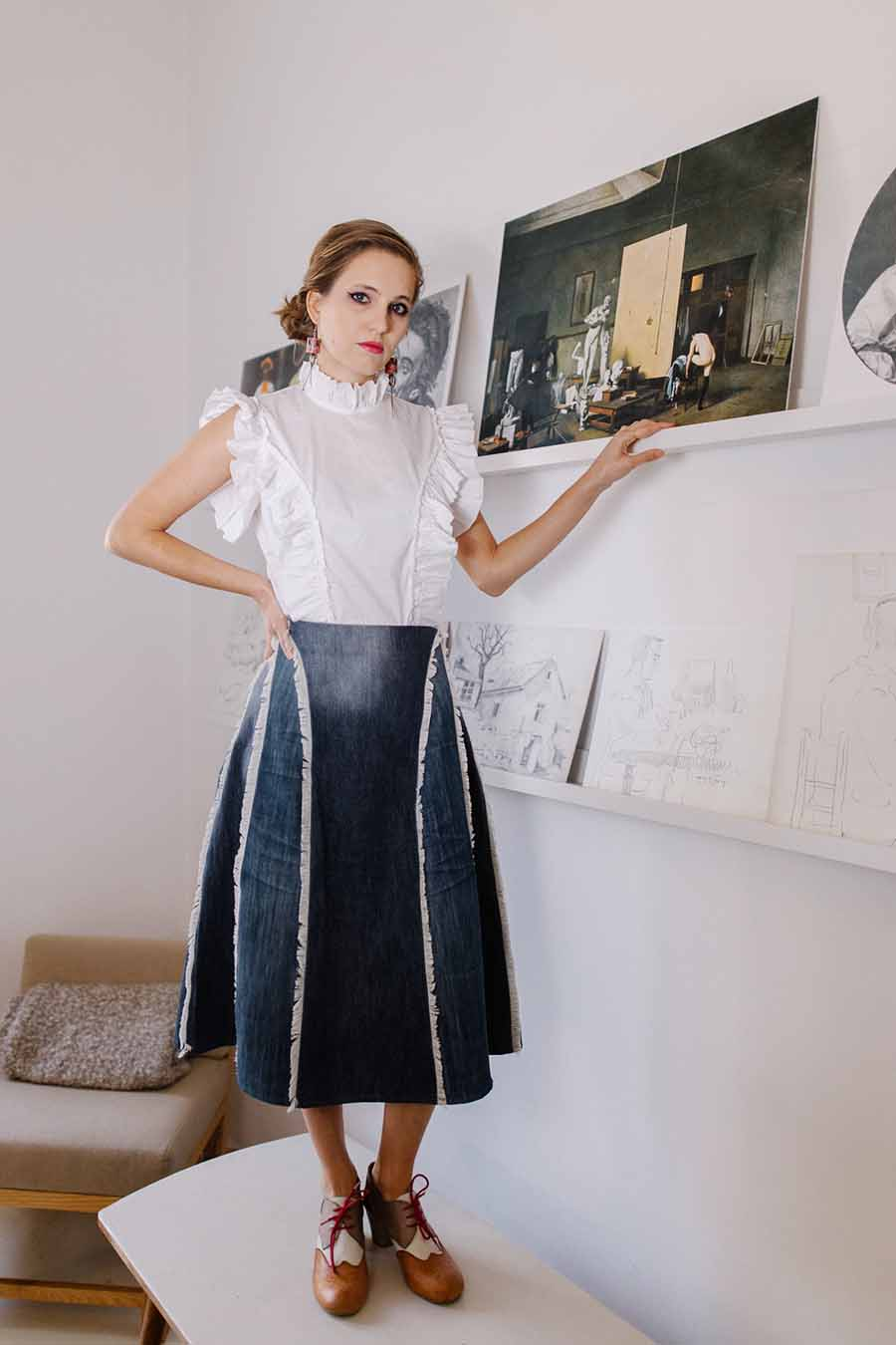 A-line Denim skirt with white ruffled blouse