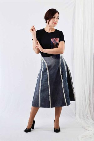 A-line Denim skirt crafted from recycled jeans panels