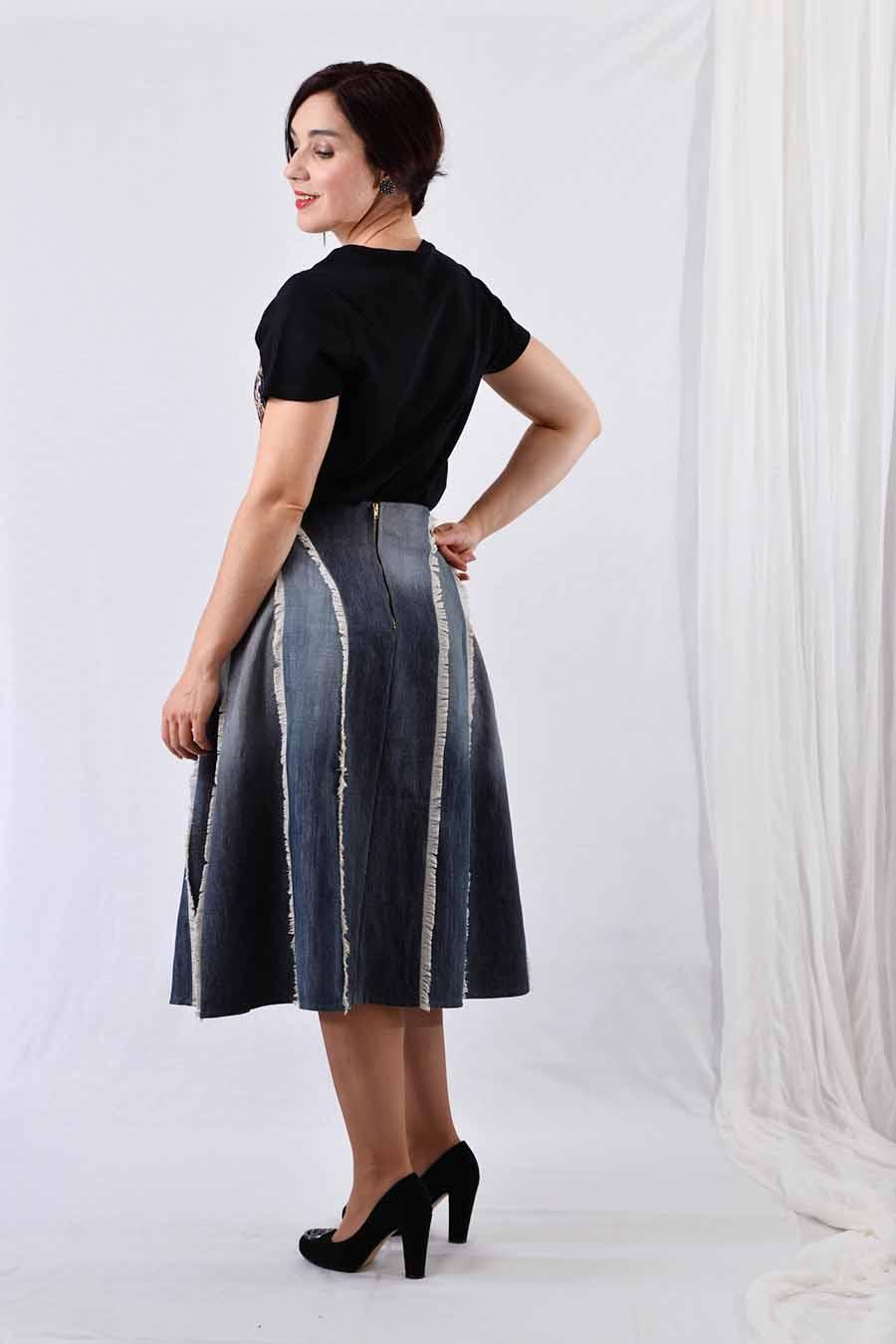 A-line Denim skirt from back